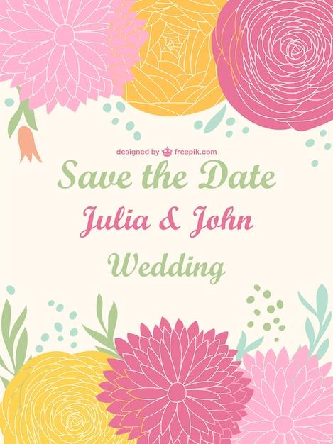 Wedding Flowers Vector Free Download : Flowers vector wedding invitation free download