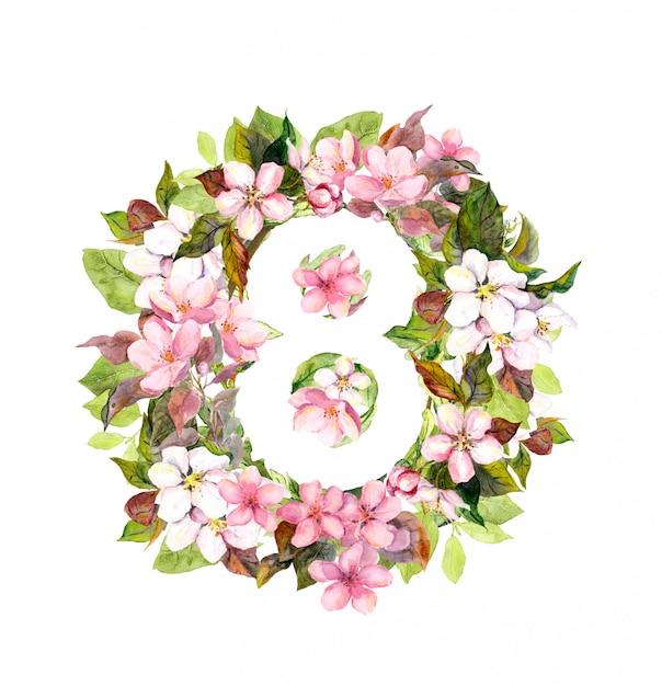 番号8の花。3月8日、女性の日の花カード。 Premium写真