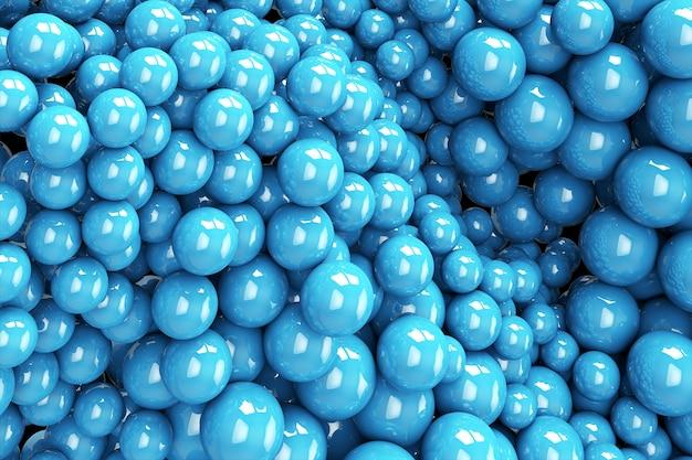 흐르는 푸른 구체. 3d 창조적 인 그림. 기하학적 형태와 추상적 인 배경입니다. 트렌디 한 표지 디자인. 광고 배너 또는 브로셔 템플릿. 현대적인 동적 벽지 프리미엄 사진