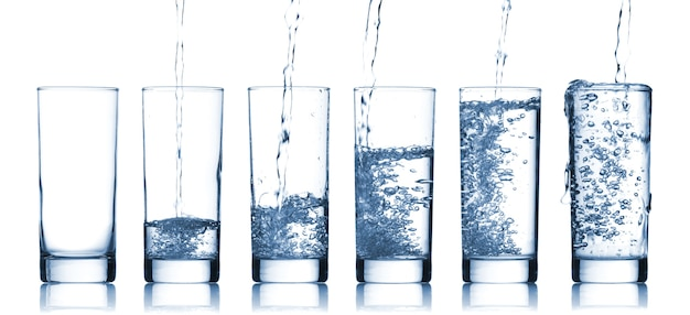 Flowing water in a glass Premium Photo
