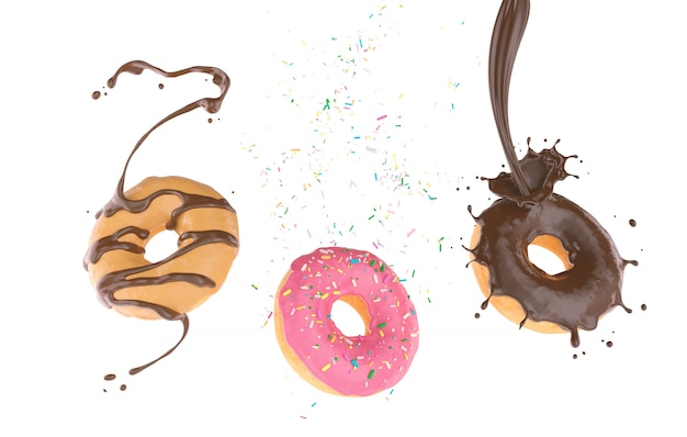Flying donut with sugar sprinkled and chocolate splash Premium Photo