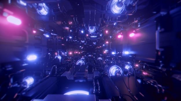 우주선 터널로 비행 프리미엄 사진