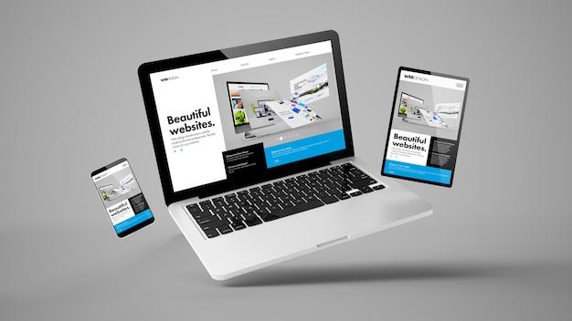 Flying laptop, mobile and tablet 3d rendering showing builder website responsive web design Premium