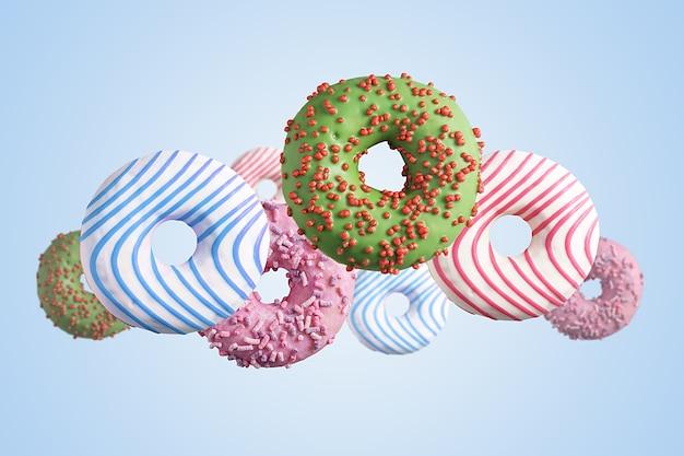 Летающие разноцветные пончики Premium Фотографии