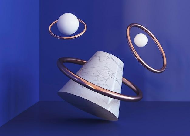 Flying rings geometric shapes background Free Photo
