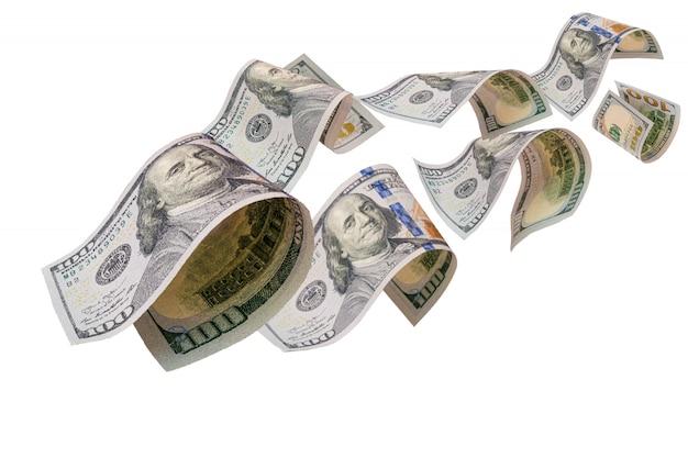 Flying of us dollar banknote on white Premium Photo