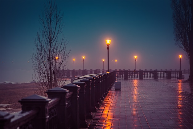 Foggy evening at the waterfront taganrog winter Premium Photo