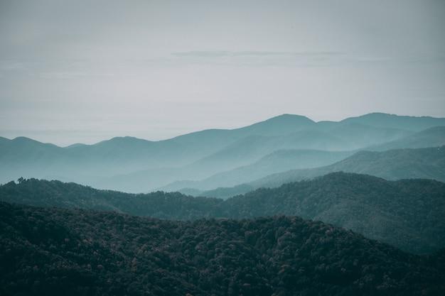 우울한 하늘 아래 안개가 자욱한 산 풍경 무료 사진