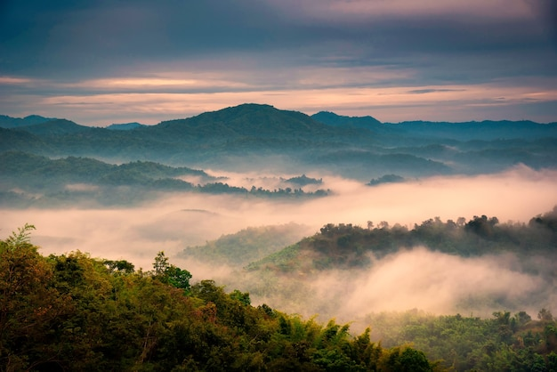 Foggy in the mountains with dramatic sky at sunrise Premium Photo