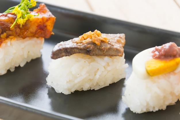 Foie gras sushi Free Photo