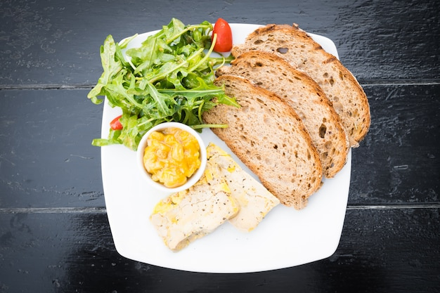 Foie gras with bread Free Photo
