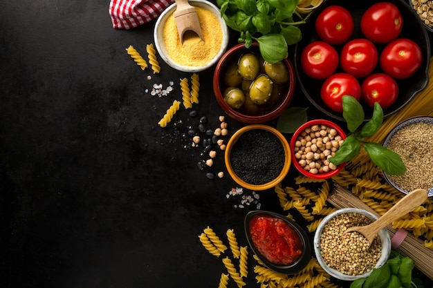 food background food concept with various tasty fresh