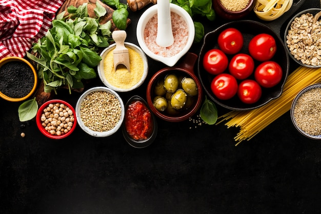Food Background food background food concept with various tasty fresh ingredients