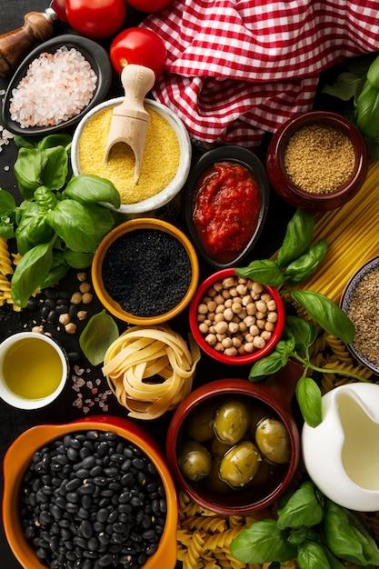 Food Background food background food concept with various tasty fresh ingredients