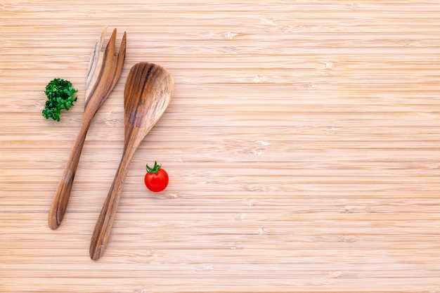 Food background and salad concept with raw ingredients  flat lay on white wooden background. Premium Photo