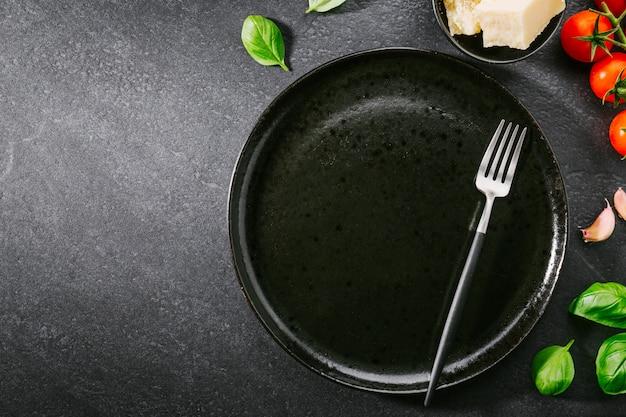 パスタのための原料と食品の背景 Premium写真