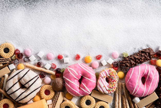 Food containing sugar. chocolate abuse and addiction concept, body and dental care. Premium Photo