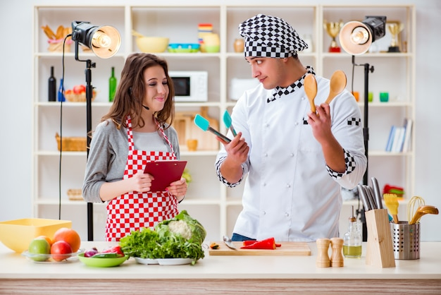 Food cooking tv show in the studio Premium Photo