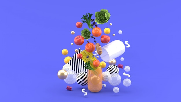 The food floats out of the capsule amidst colorful balls on the purple. 3d render Premium Photo
