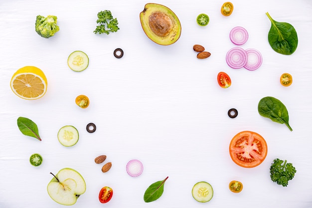 Food pattern with raw ingredients of salad flat lay on ...