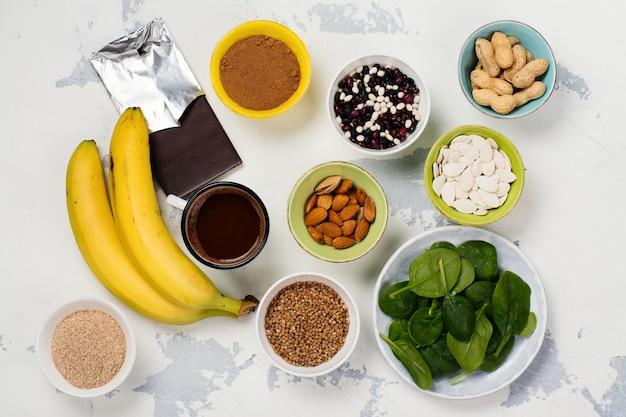 Food rich of magnesium Premium Photo