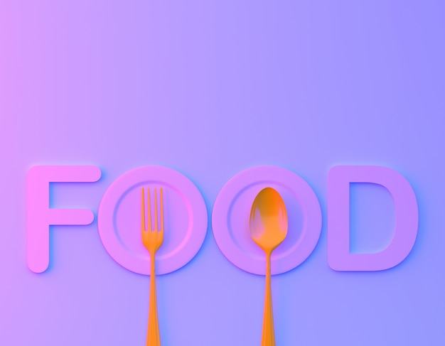 Food word sign logo with spoon and fork in bvibrant bold gradient purple and blue holographic colors background. Premium Photo