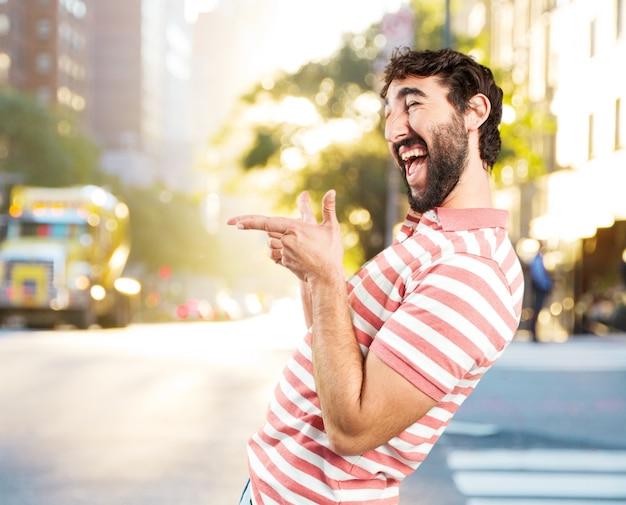 Fool crazy man. happy expression Free Photo