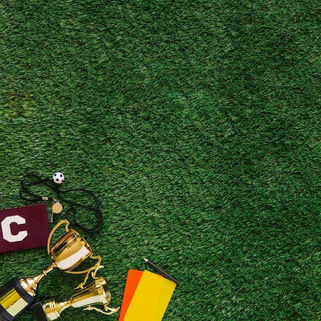 Football background with copyspace on grass Free Photo