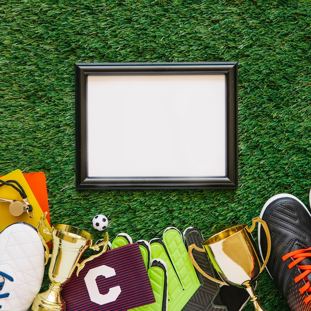 Football background with frame Free Photo