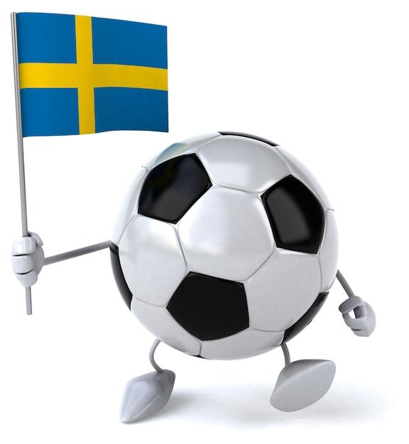 Футбольный мяч - 3d персонаж Premium Фотографии
