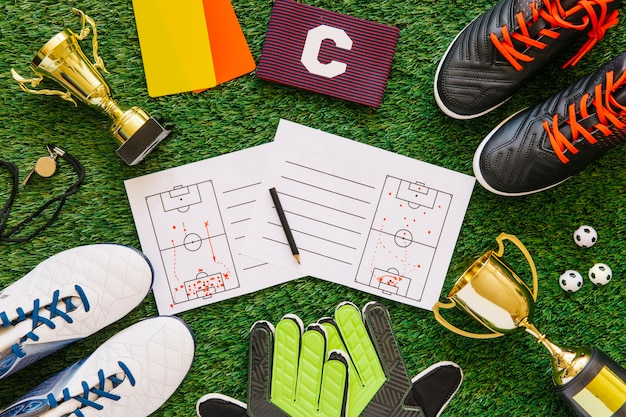 Football composition with different elements Free Photo
