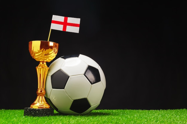 Football cup with football ball on grass Premium Photo