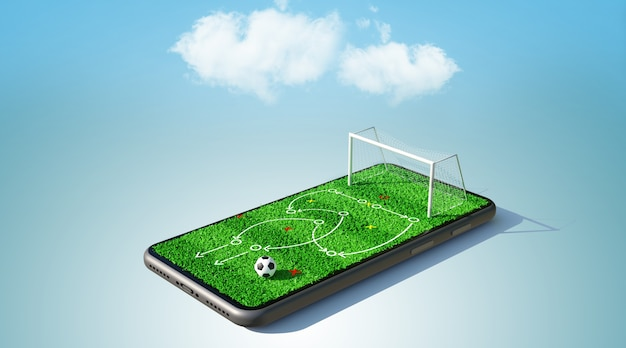 Football game strategy on smartphone. 3d rendering Premium Photo