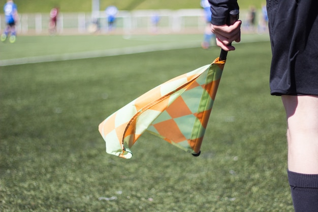 A football referee follows the game on the football field Premium Photo