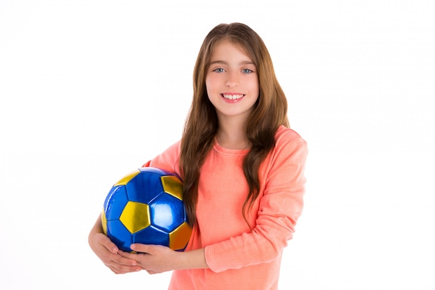 Football soccer kid girl happy player with ball Premium Photo