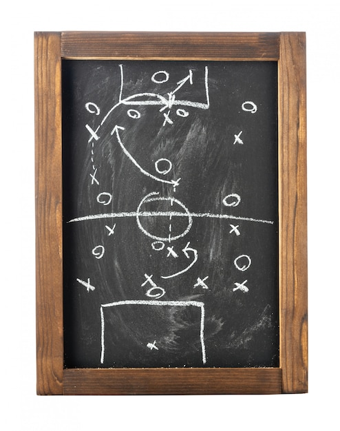 Football (soccer) tactics on chalkboard isolated on white Premium Photo