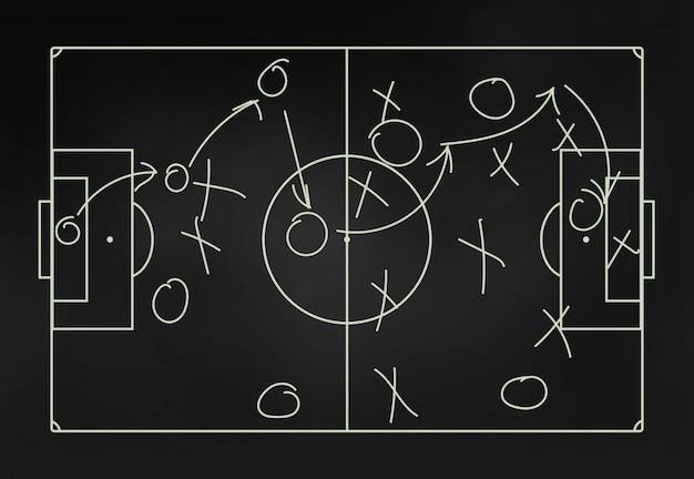 Football tactics on a blackboard close-up Premium Photo
