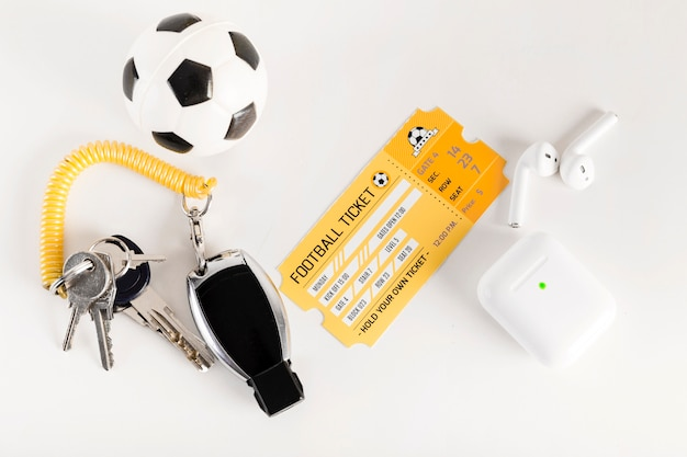 Football ticket and referee equipment Free Photo