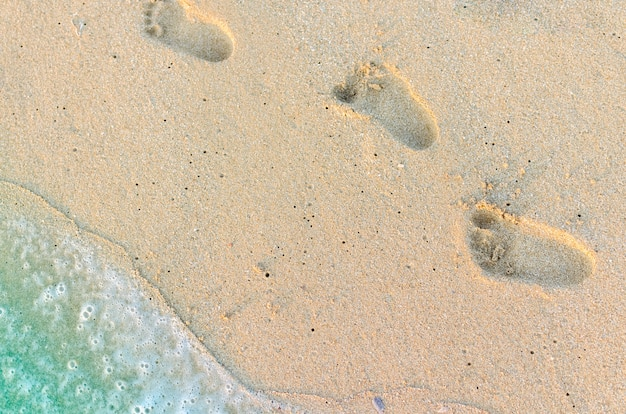 Footprints of baby on the sand Premium Photo