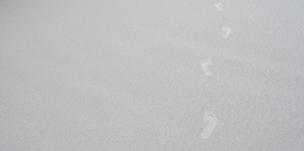 Footprints of human feet on the white sand Premium Photo