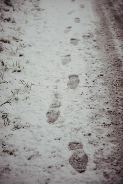 Следы на заснеженной дороге Бесплатные Фотографии