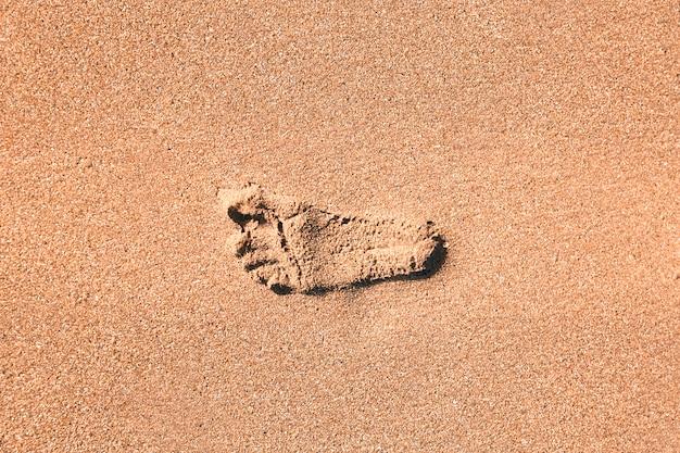 ビーチの砂の足跡 Premium写真