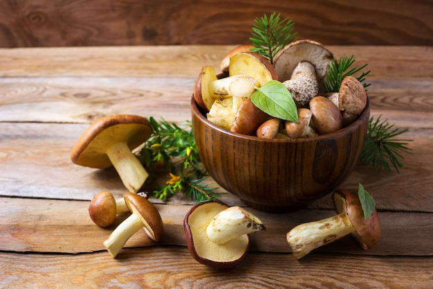 Forest picking mushrooms in wooden bowl Premium Photo