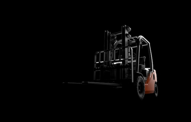 Forklift on a black background Premium Photo