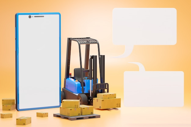 Forklift truck with a cardboard box on a pallet. smartphone and text box. cargo in the warehouse to prepare to be delivered by transport. Premium Photo