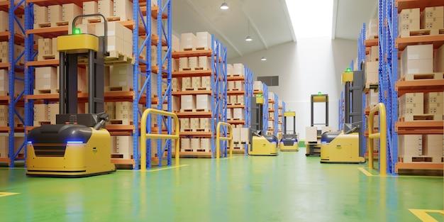 Forklift trucks in warehouse Free Photo