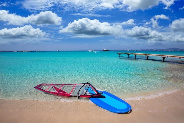 Formentera ibiza ses illetes beach with wind surf Premium Photo