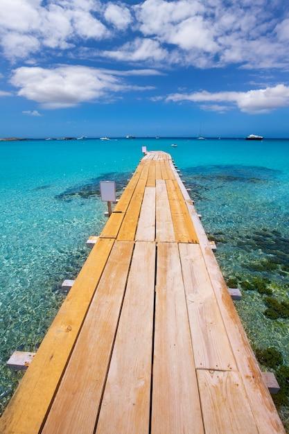 Formentera ses illetes beach pier illetas and ibiza Premium Photo