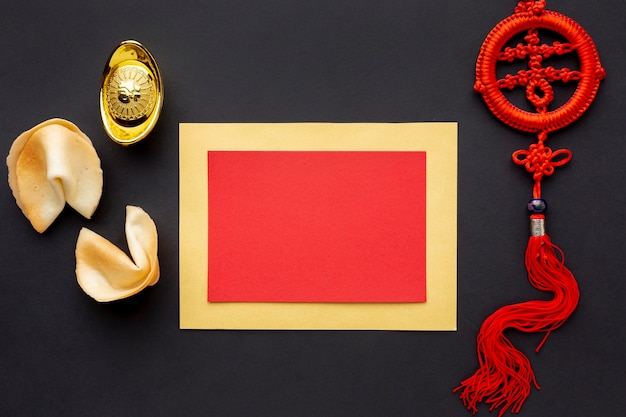 Fortune cookies and card mock-up chinese year Free Photo