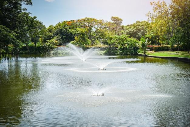 Fountain garden in the water pond green park Premium Photo